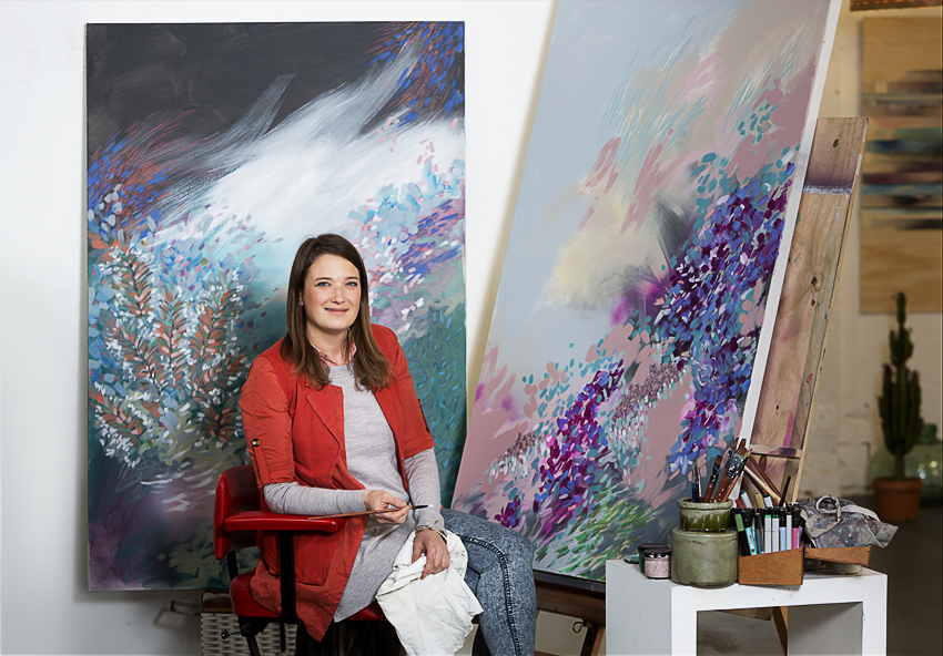 Amy Wright artist in her studio photography by Sarah Anderson