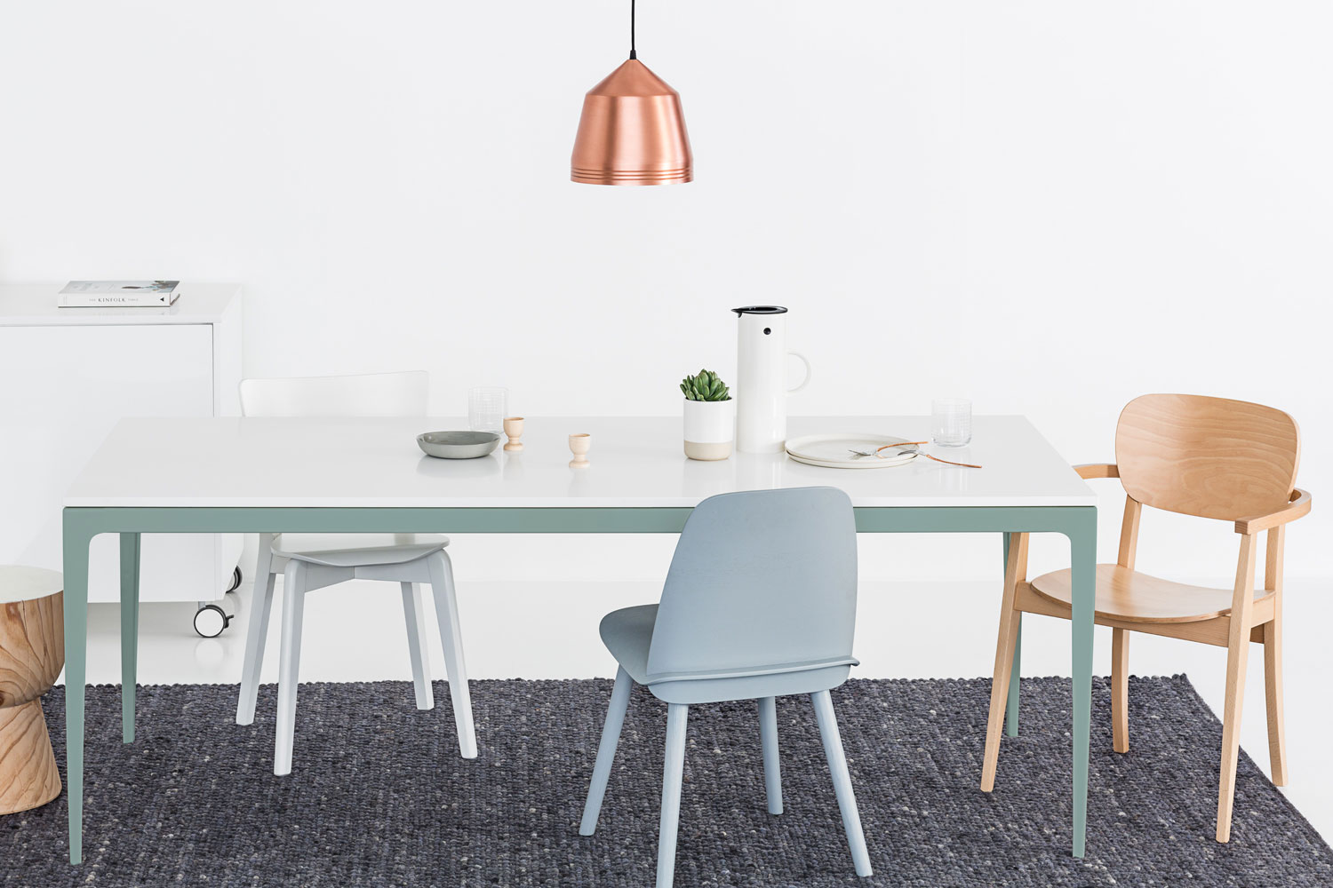 photograph-for-URBI-of-custom-white-stone-dining-table-with-green-taken-by-Sarah-Anderson-Photography