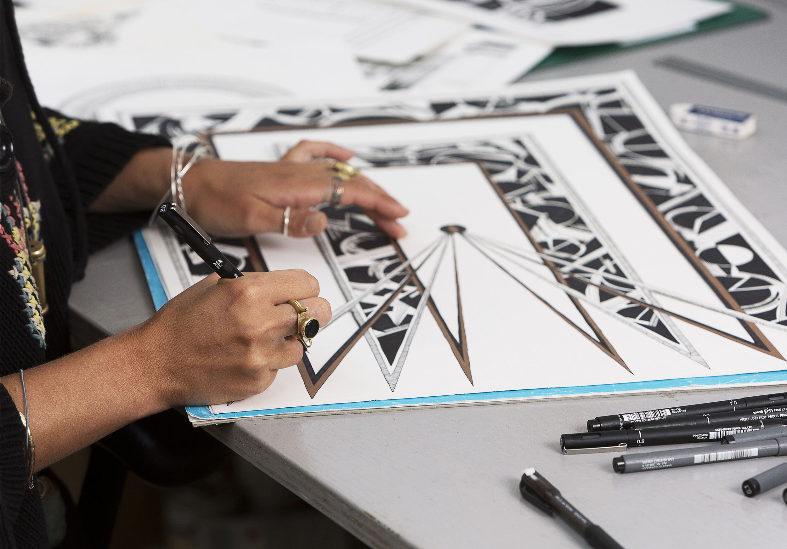Artist  Chrysa Koukoura  in her studio.