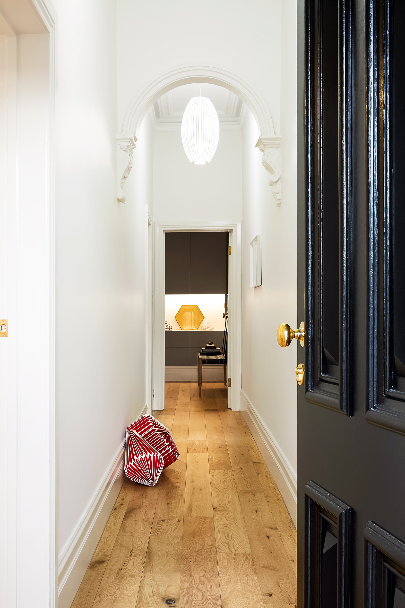 Walls, Dulux paint; colour: natural white.   Royal Oak floors South Yarra; architect collection, American oak aged smoked.