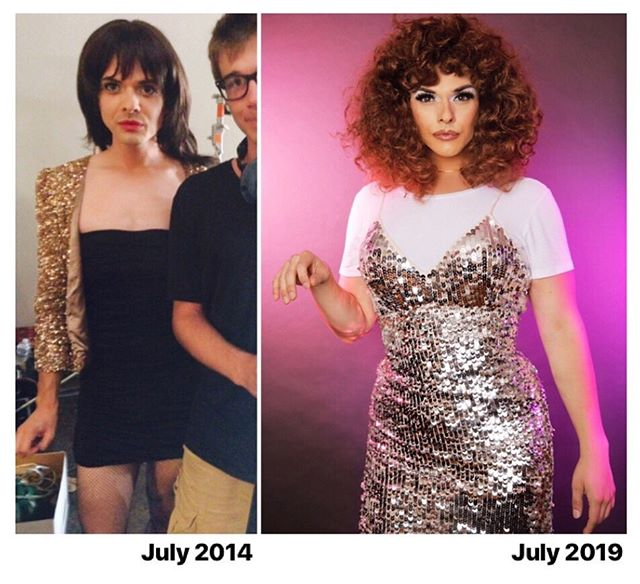 #transformationtuesday - LEFT: First time in drag (oof!), first time on  set (eek!), playing a hooker (typecast) in an indie feature.  RIGHT: #sitcomfish , living my Jessie Spano meets Cher Horowitz fantasy.