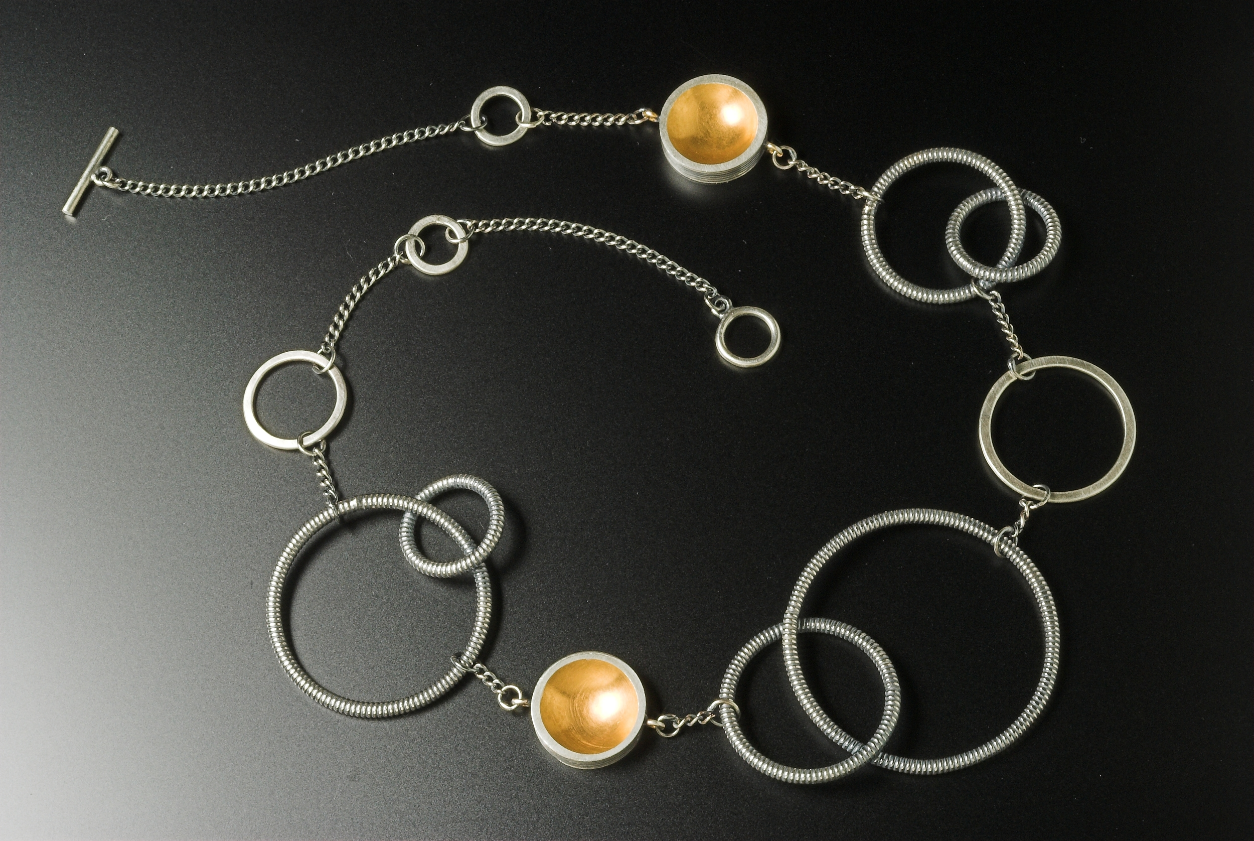 Silver and gold plate loop necklace @ 45cm long £395