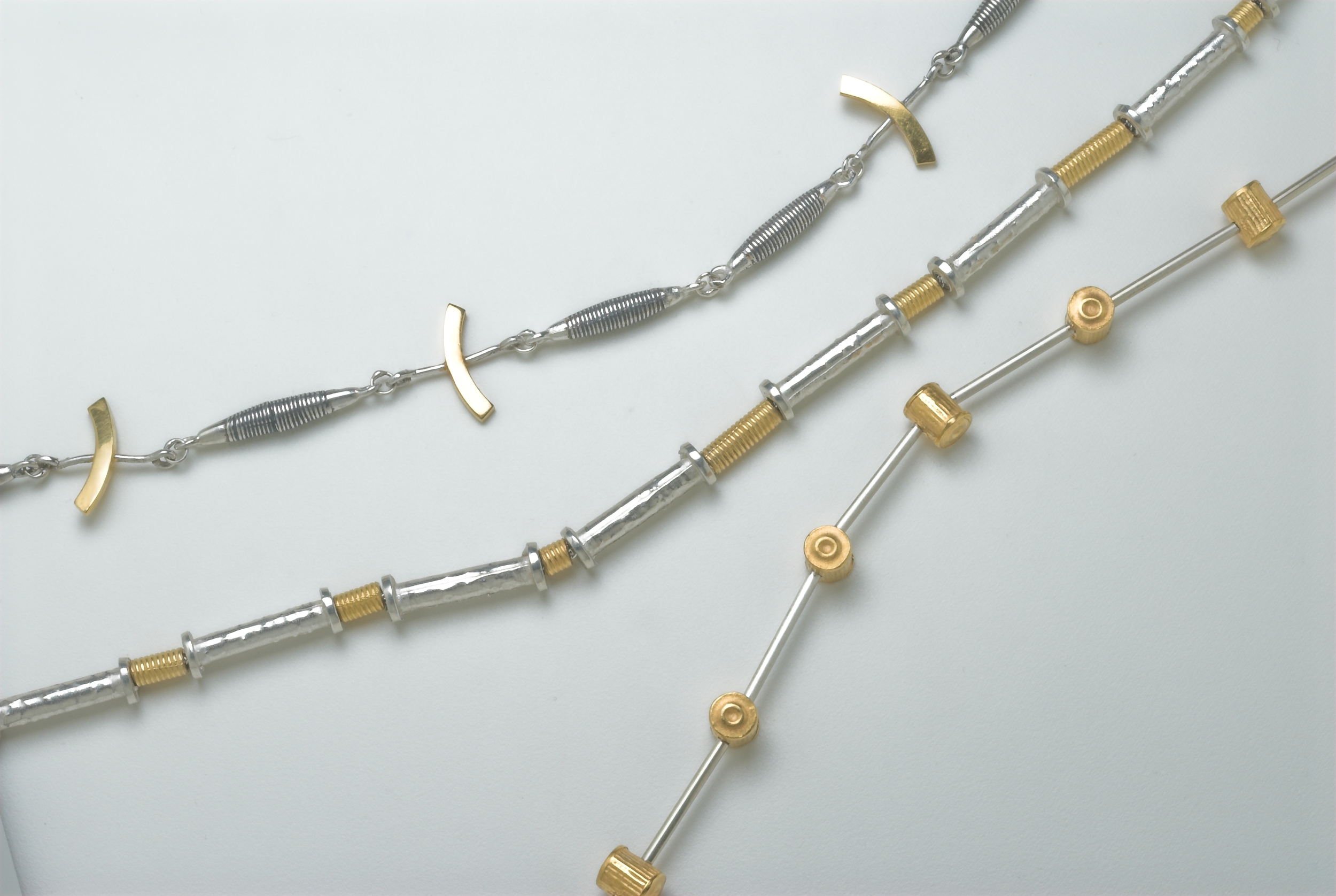 Silver and gold plated necklaces @ 42cm long. £275-£295 Middle necklace available to buy  online  £295