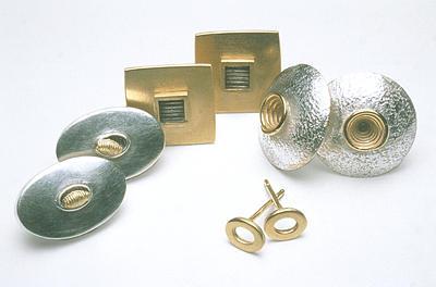 4.Silver and gold plated earrings. Left to right E21 £90  E7GP £100  E14 £90  E19GP £65