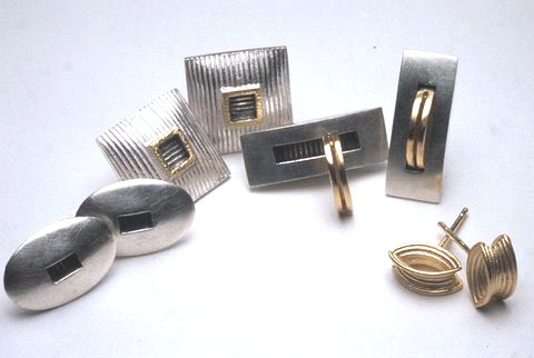 5.Silver and gold plate earrings. Left to right  E30 £80  E15 £80 E40 £95  E18GP £65