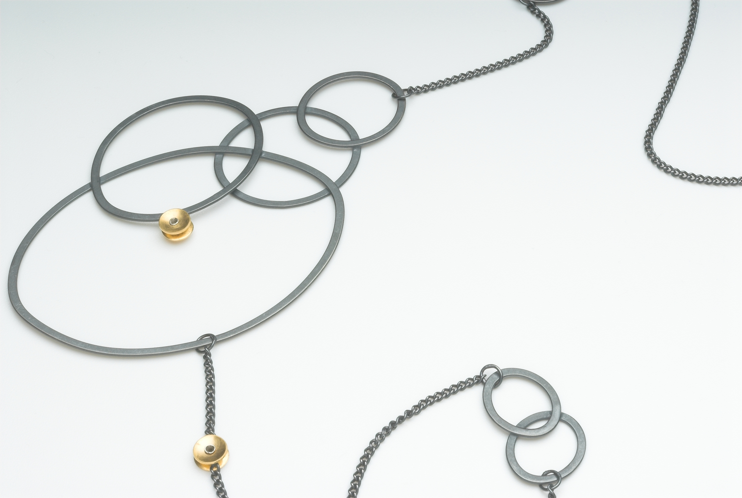Oxidised silver and gold plate necklace