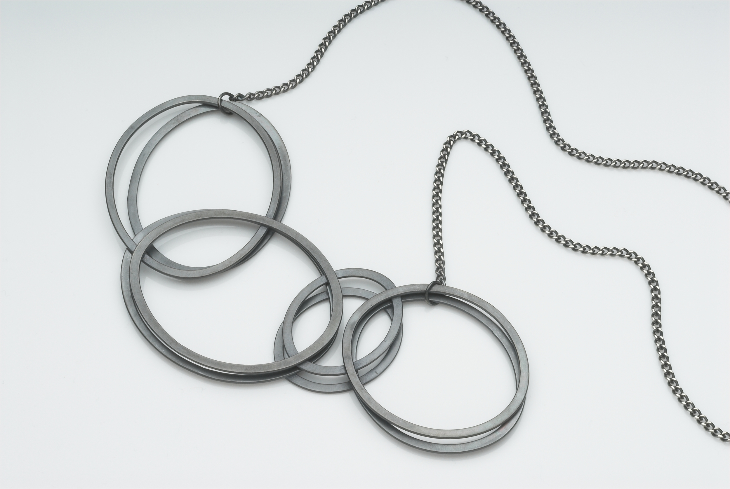 Double 'shadow' necklace, oxidised silver @47cm £340