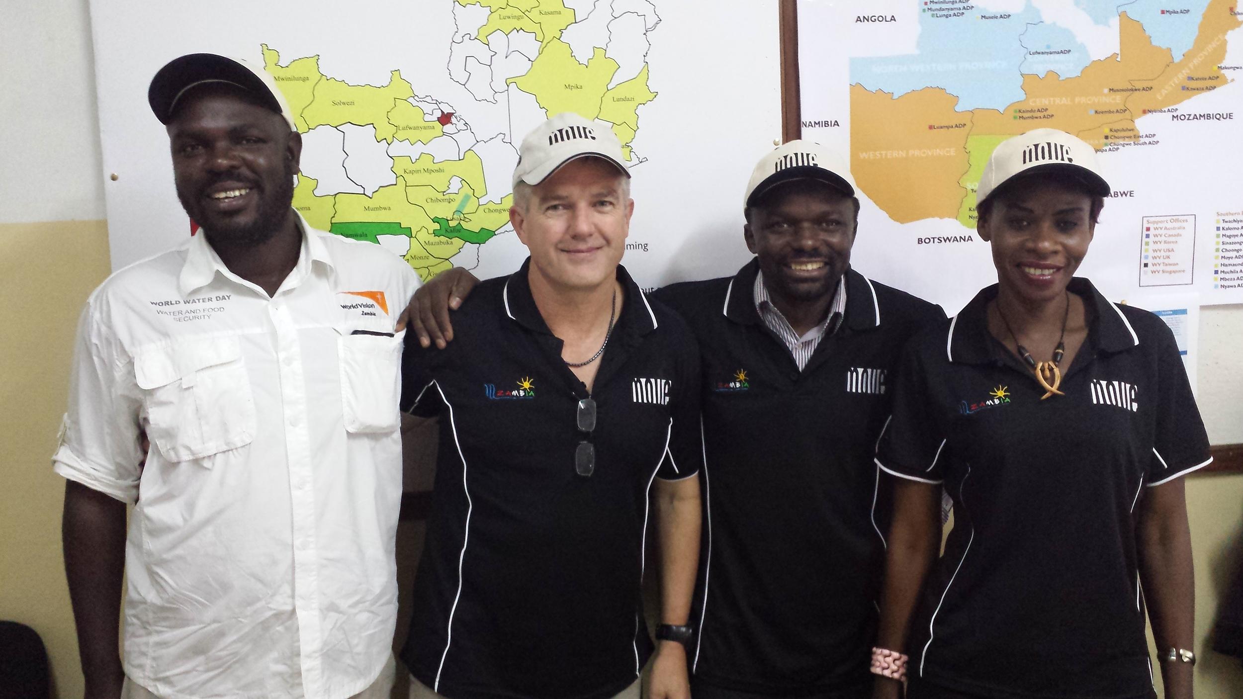 MOVE & World Vision Zambia - April 2015    Left to right : clement chipokoto (wvz), Nev pace (MOVE Director), chikondi Piri (Wvz deputy director), caroline situbeko (MOVE)