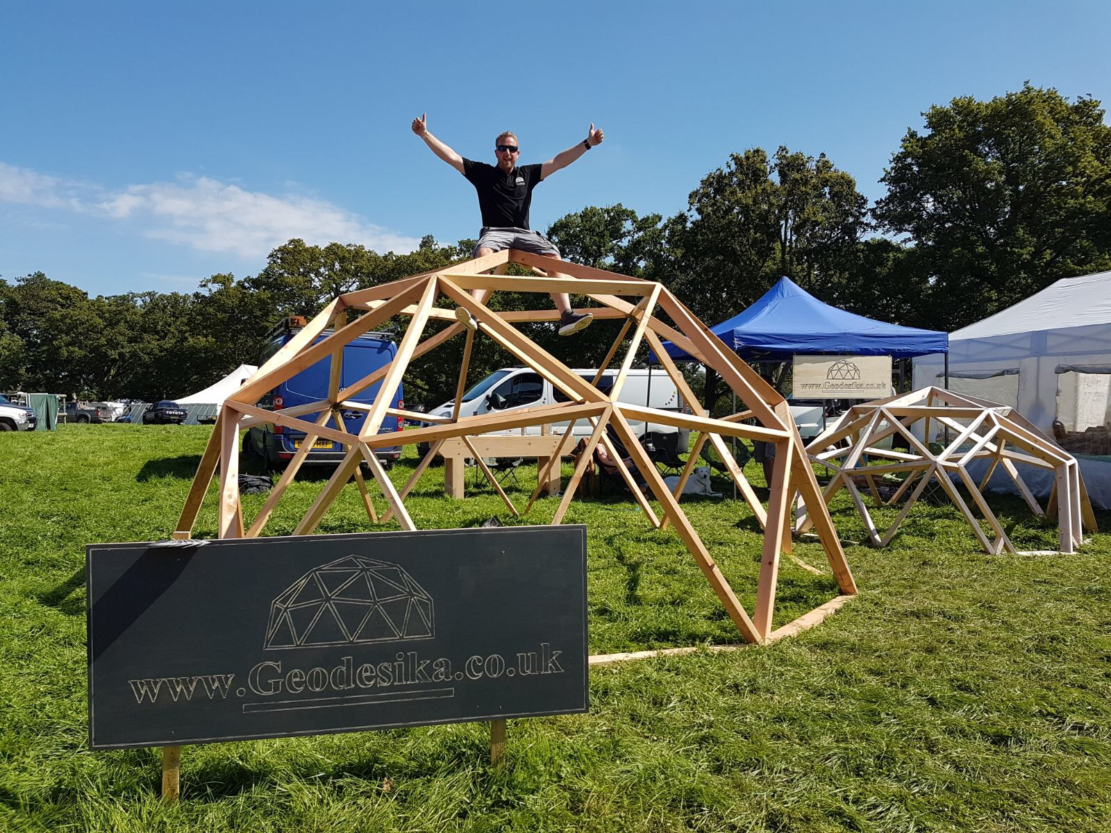 Geodesic Domes - We have worked along side other colleagues to develop these douglas fir solid timber geodesic domes. These were designed with the idea of producing outdoor classrooms for schools and also could be used for many other things such as glamping or a garden room.Here we are at the Stock Gaylard Oak Fair 2017 http://www.stockgaylard.com/index.asp