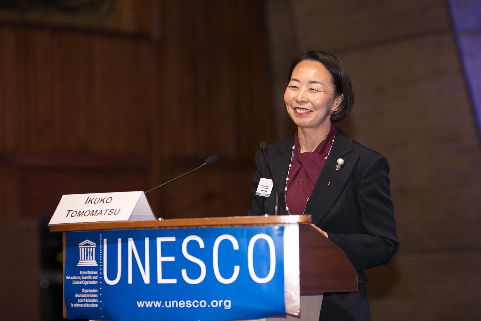 Ikuko Tomomatsu Speaking at UNESCO in Paris, October 2018