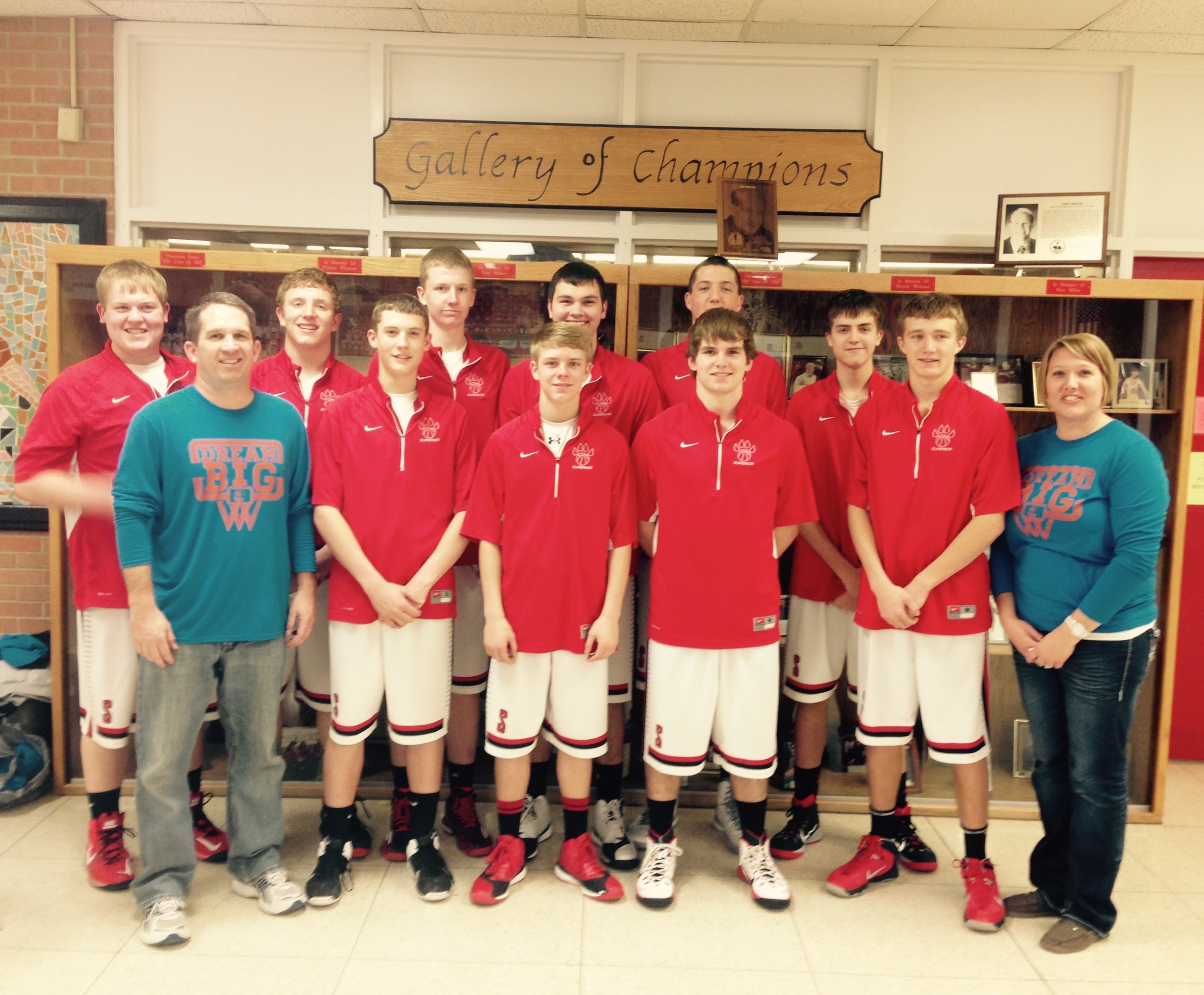 Superior High School Awareness Outing on February 13, 2015. Here we are with the Wildcat Boy's Basketball team!