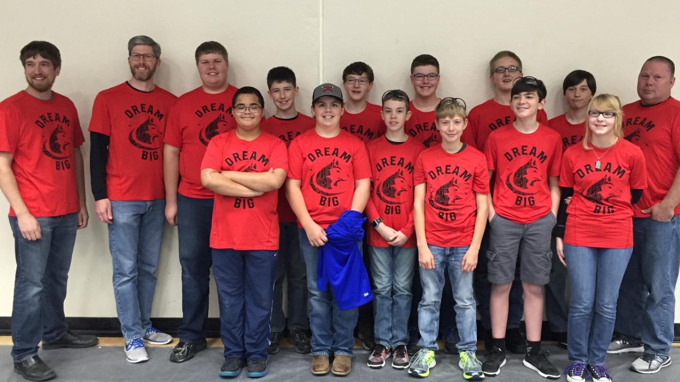 "Aurora Huskies Robotics team rocking their ""DREAM BIG"" shirts!! Thanks so much for your support."