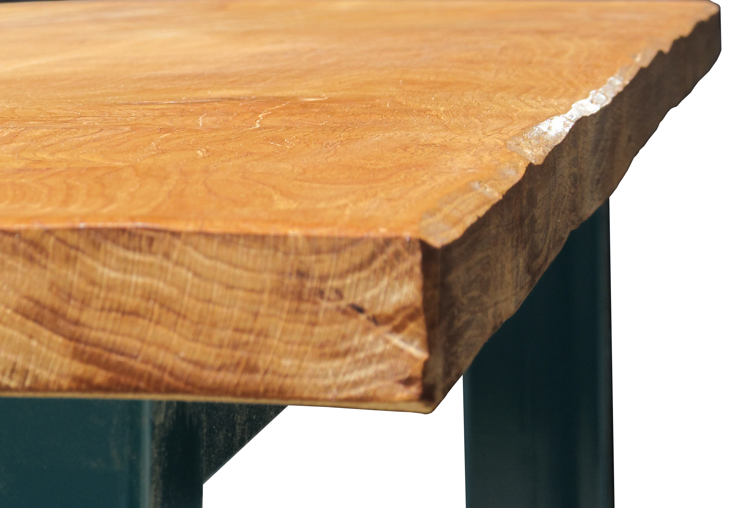 Oak & Iron Furniture - detail of our seasoned oak dining table top.