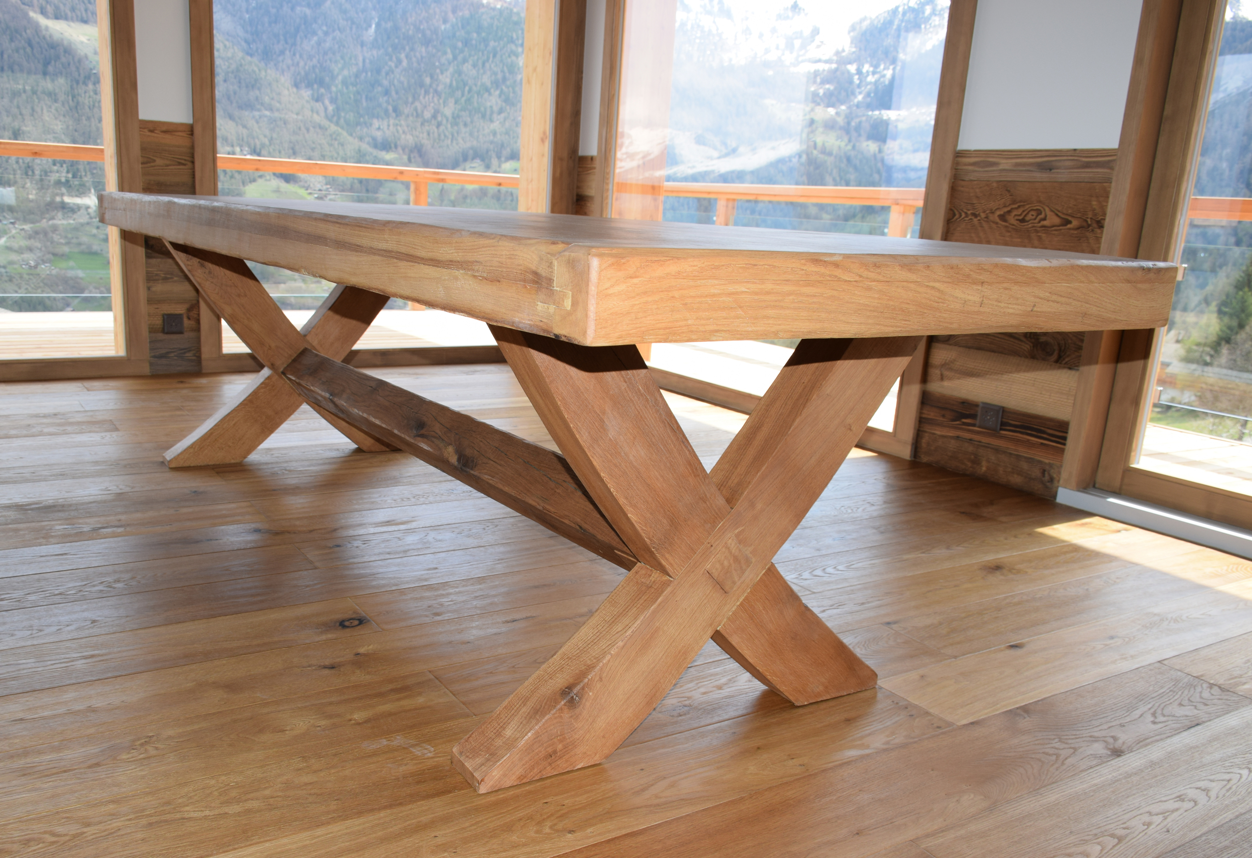 Bespoke Oak & Iron X leg table in Switzerland