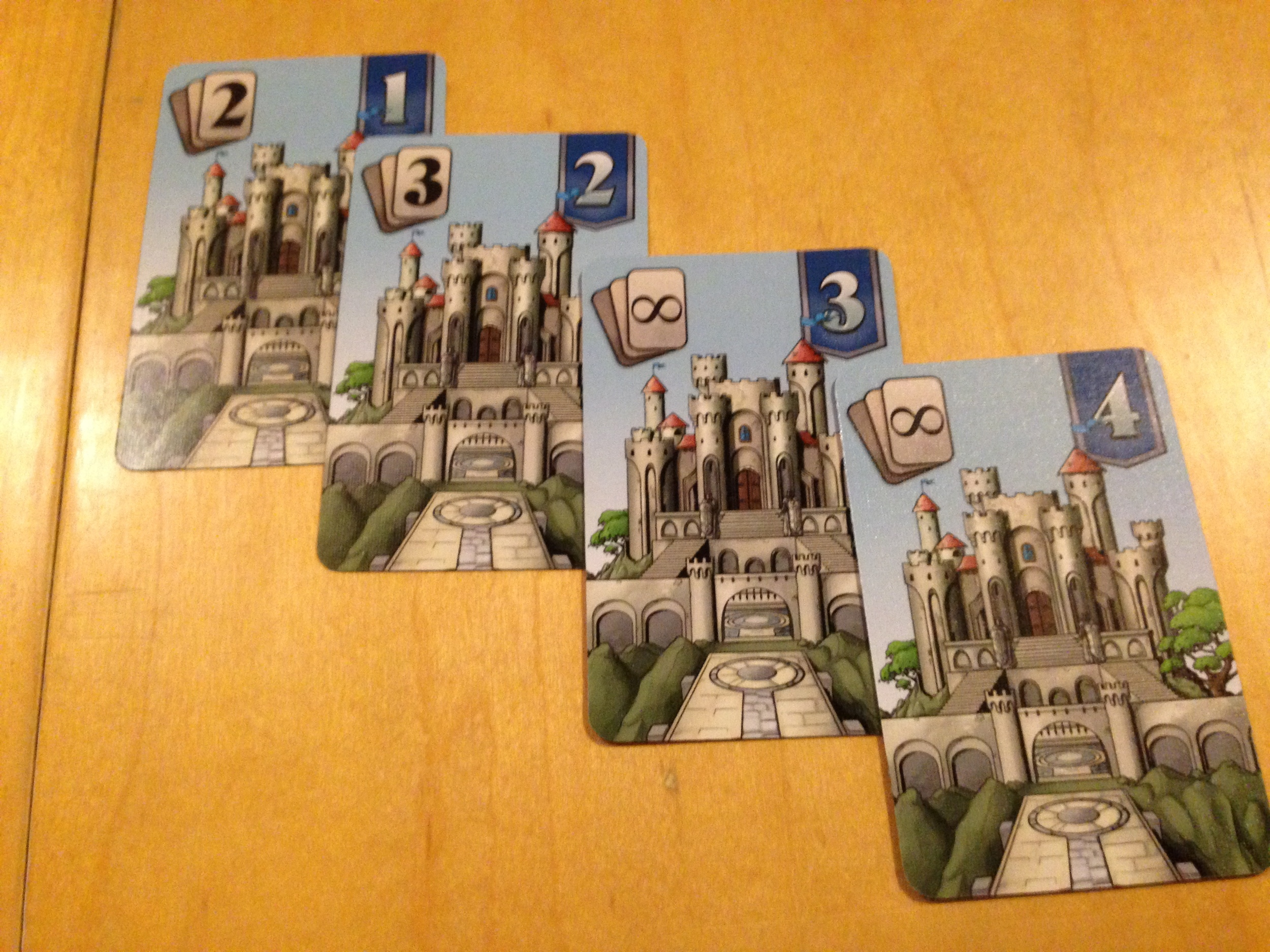 The 3 and the 4 Castle can hold any number of cards.