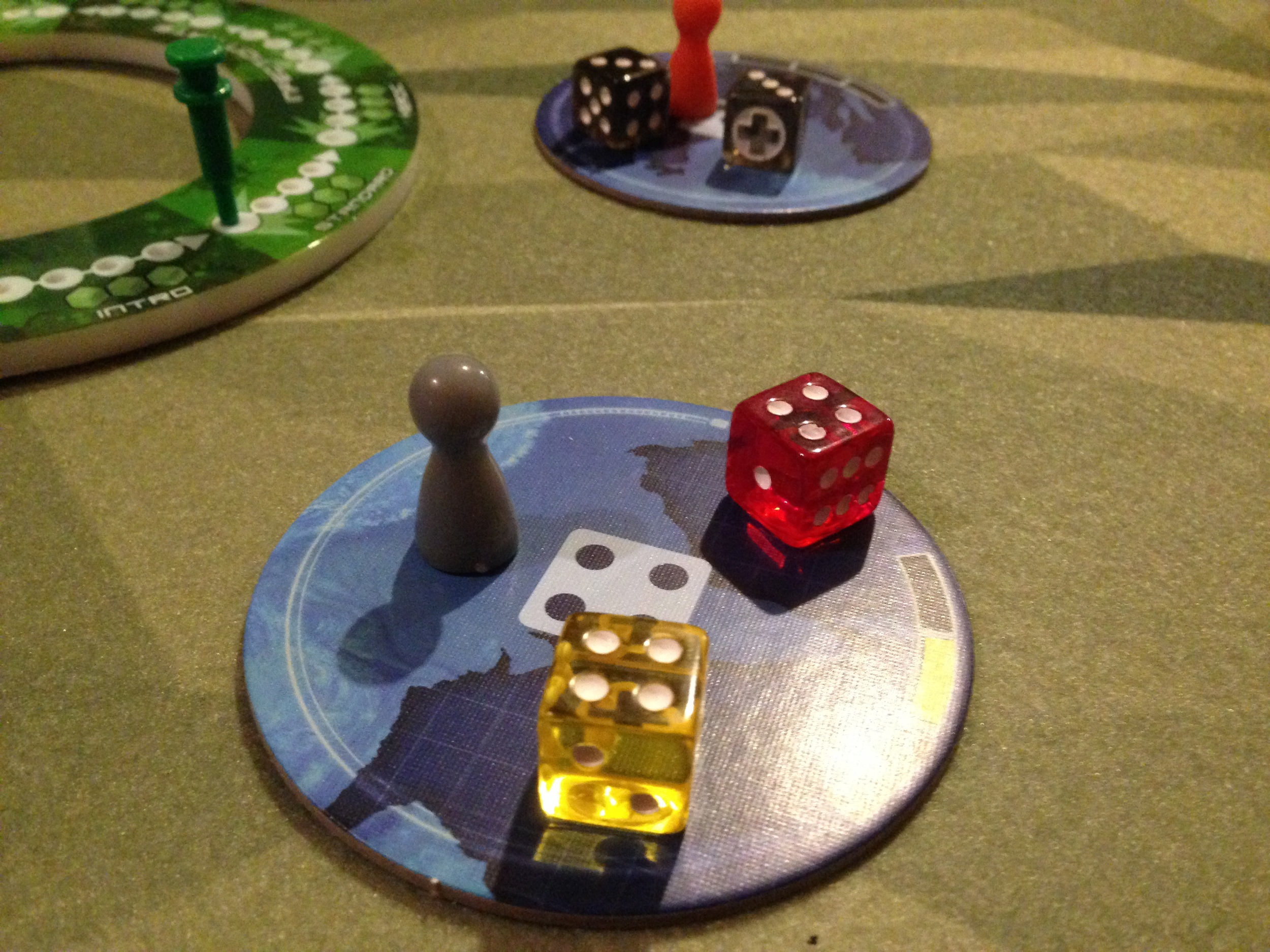 Regions, with a player pawn and some Infection dice.
