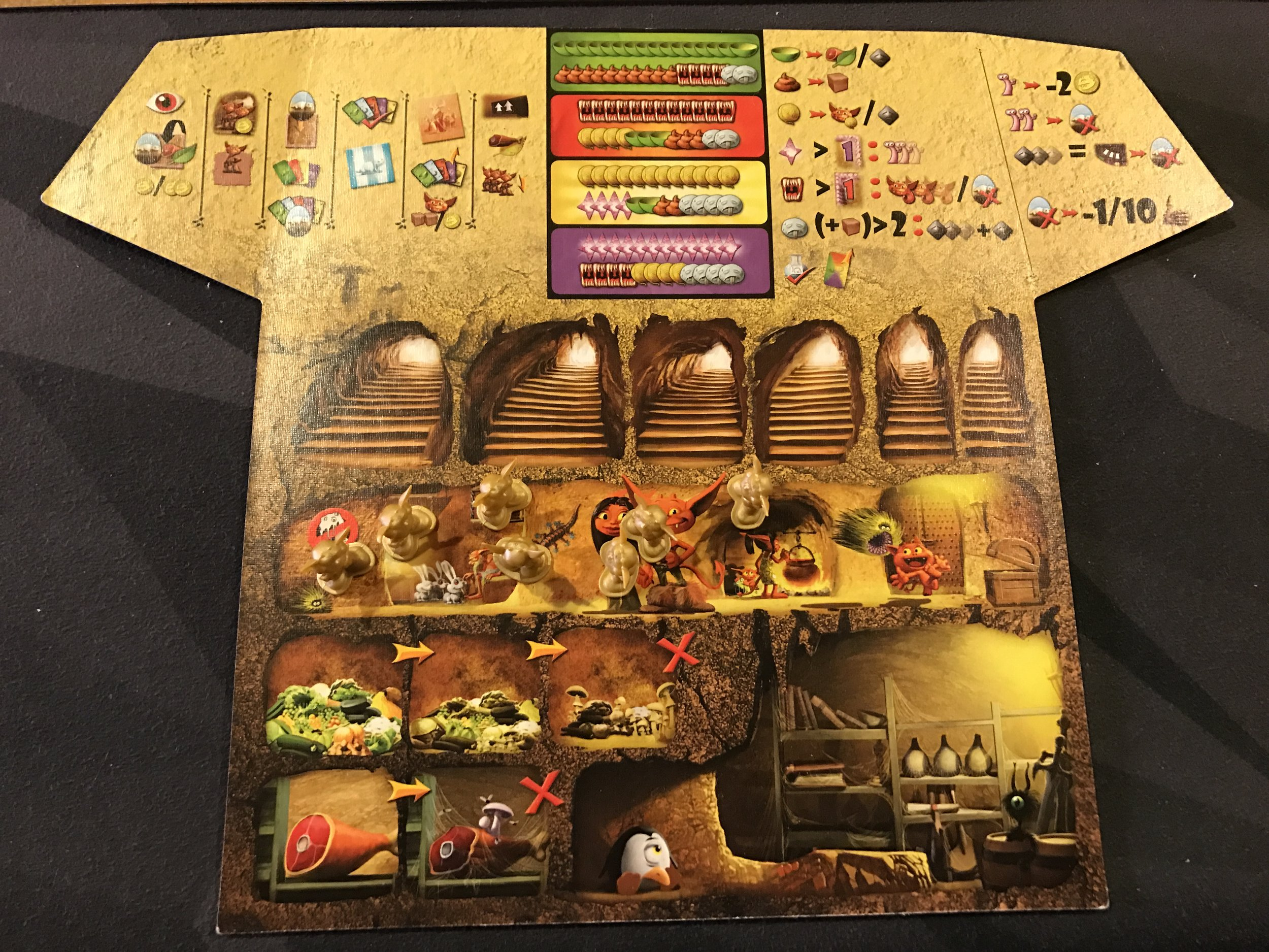 This is a player board, complete with practically everything you need to remember for the game. Those colored strips at the top show you the breakdown of the four colored decks.