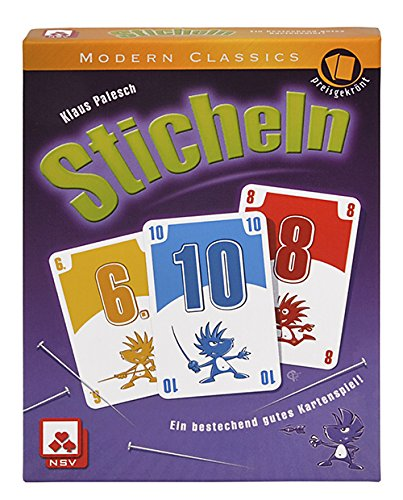 Sticheln - There are a bunch of great trick-taking games out there, but or me Sticheln is the best of the bunch. It's about not taking certain cards yourself, and sticking your opponents with bad cards. Love it!