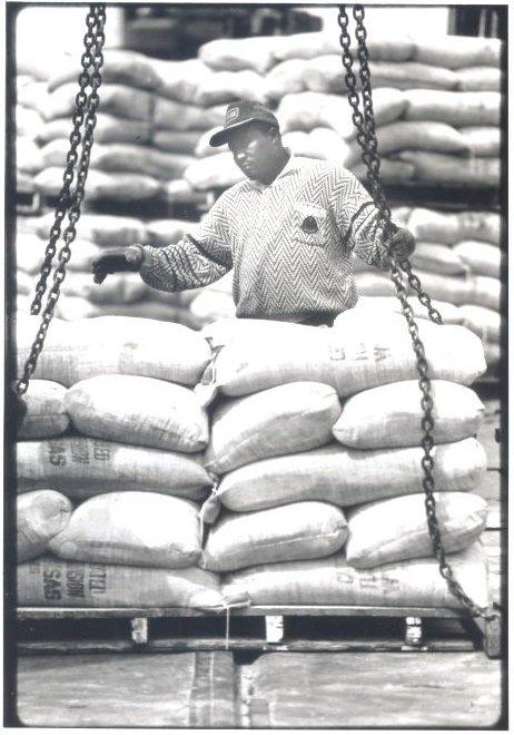 1991 Dock Worker Loading Flour for Export Shipment