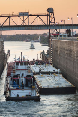 Barge passing through Port Allen locks