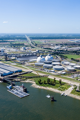 Aerial photo of the Port of Greater Baton Rouge Deepwater Complex