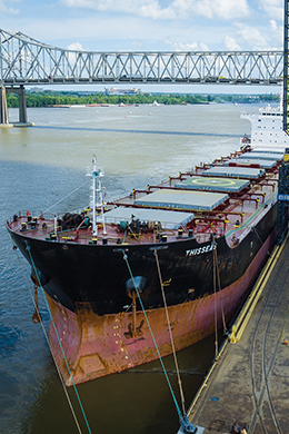 Ship docked at the Port of Greater Baton Rouge