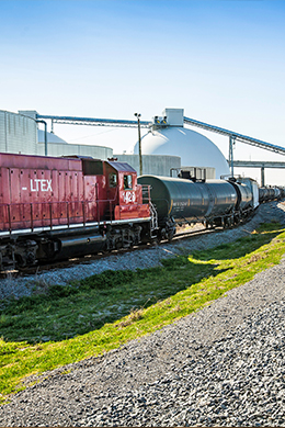 Port rail service with drax domes in background