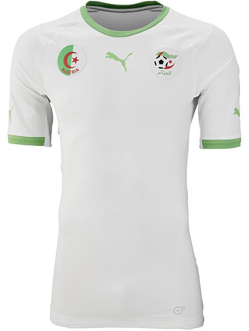 Algerian team home jersey. Source:  Footy Headlines .