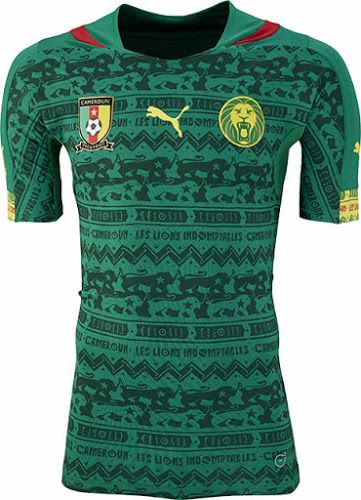 Cameroonian team home jersey. Source:  Footy Headlines .