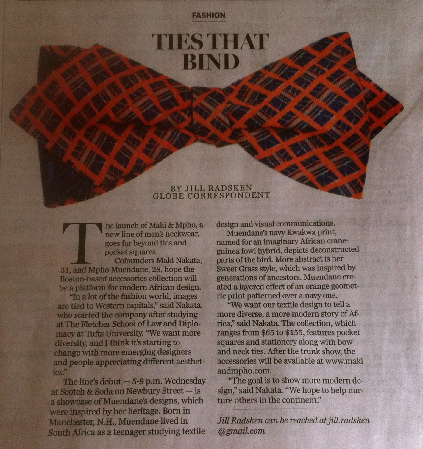 The Boston Globe - Sunday Arts. December 7, 2014