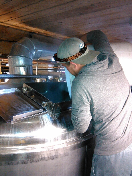 Aww...Chef Sock getting into the brewing action; adding hops to Lovitz Watermelon Lager