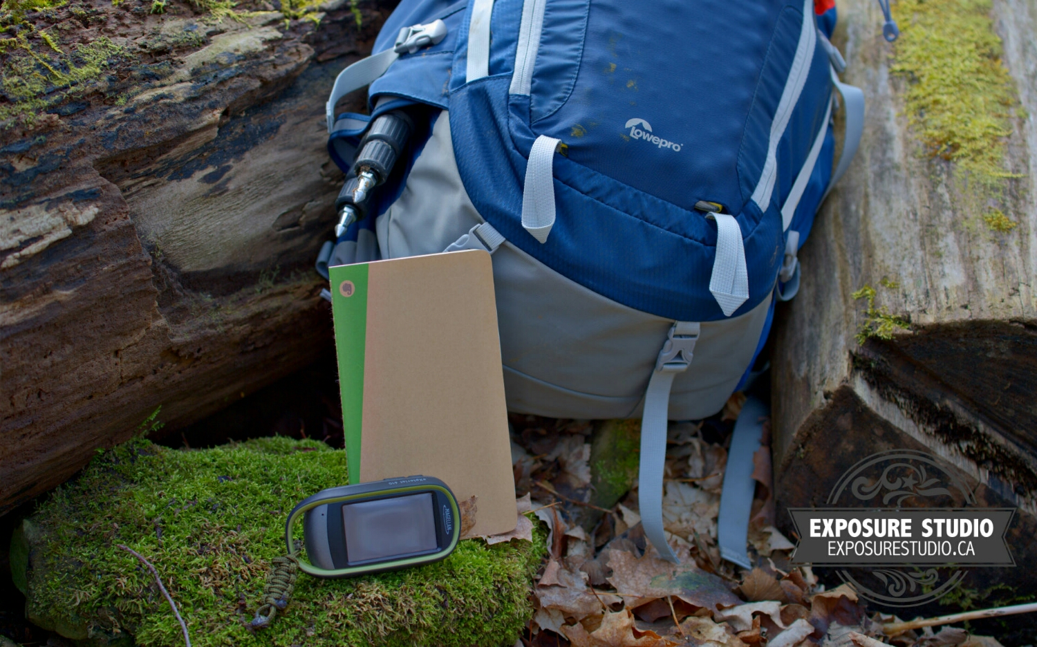 A nice resting place for the  Lowepro Rover Pro 45L ,  Magellan eXplorist 610 GPS  and  Evernote version Moleskine journal  while I'm shooting.