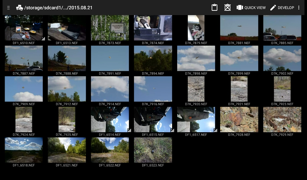 A screen shot of the images from yesterdays adventure