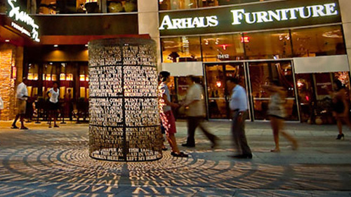 """EXTERIOR ARTWORK   - SPACES WE CAN ADDRESS: corporate developments, mixed use, retail, parks and other public spaces, garages - TYPES OF ARTWORK: freestanding or wall-mounted sculpture, pavers, """"light"""" art, thematic artwork, functional (benches, light posts, etc.)"""