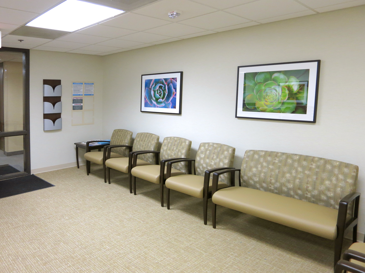 Artwork installed in a waiting area for one of Inova's locations in Fair Oaks, Virginia.