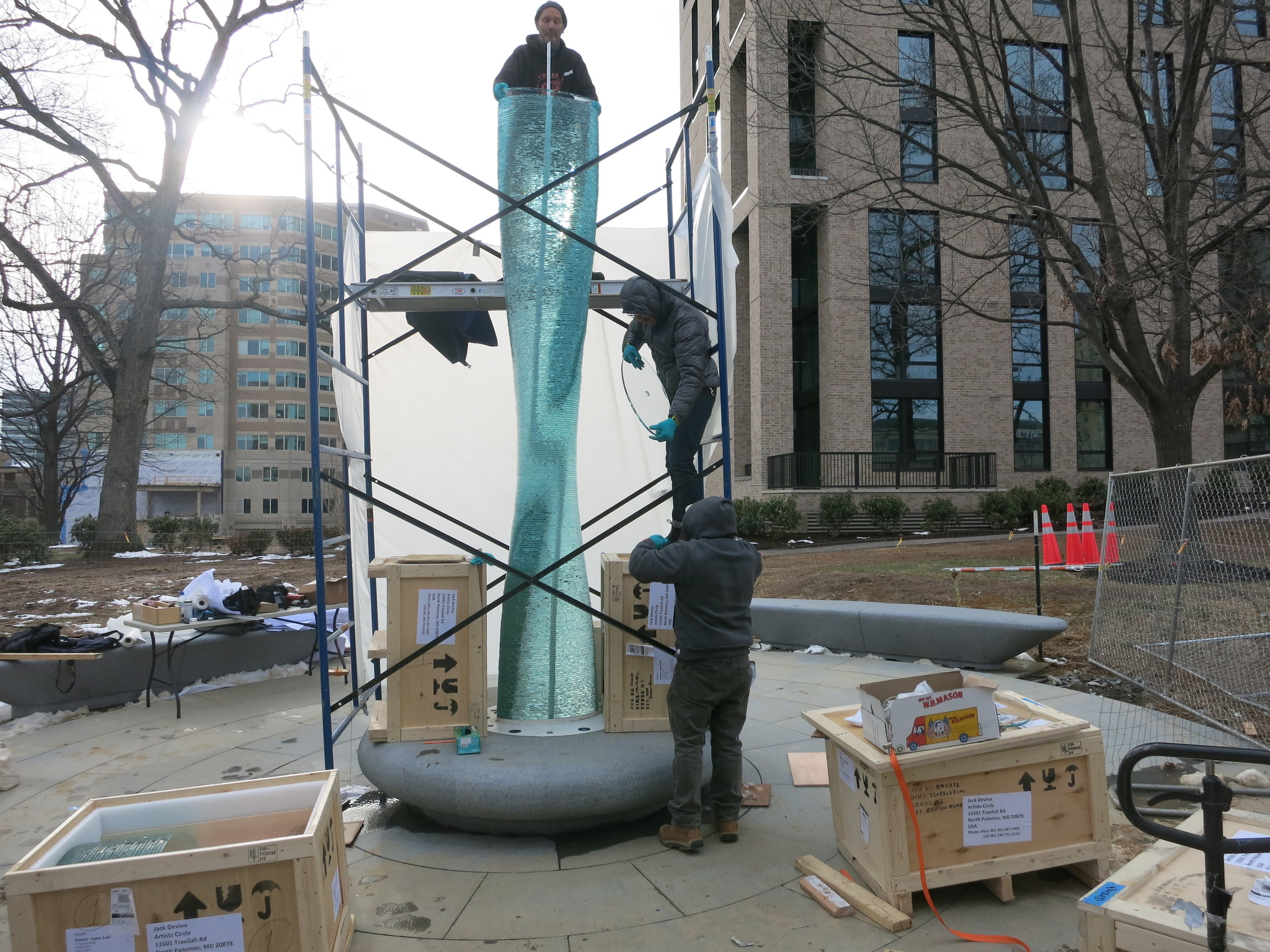 The sculpture being put togther (took 2 days to assemble on site in Reston, VA)