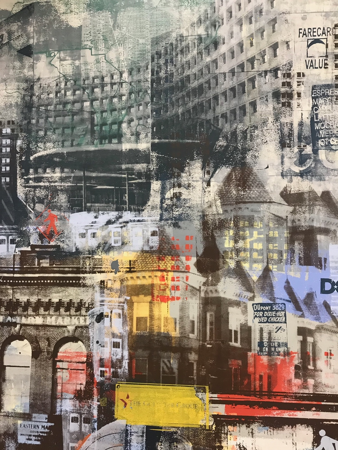 We are DROOLING over the detail & texture here! A 20th century map of DC layered underneath a photograph of the client's new office in Bethesda, all sealed underneath The Goldstar Group's logo?! Yes, please!
