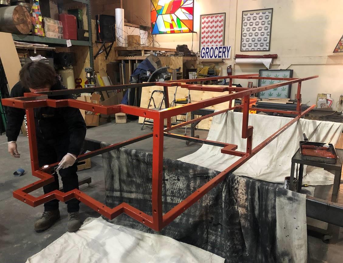 Steel sculpture frame in Fruin's fabrication studio in Brooklyn.