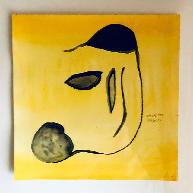 """Talk to the Moon!"" - watercolor & charcoal  #selfportrait #watercolor #eatyellow #originalpainting #love #selflove"
