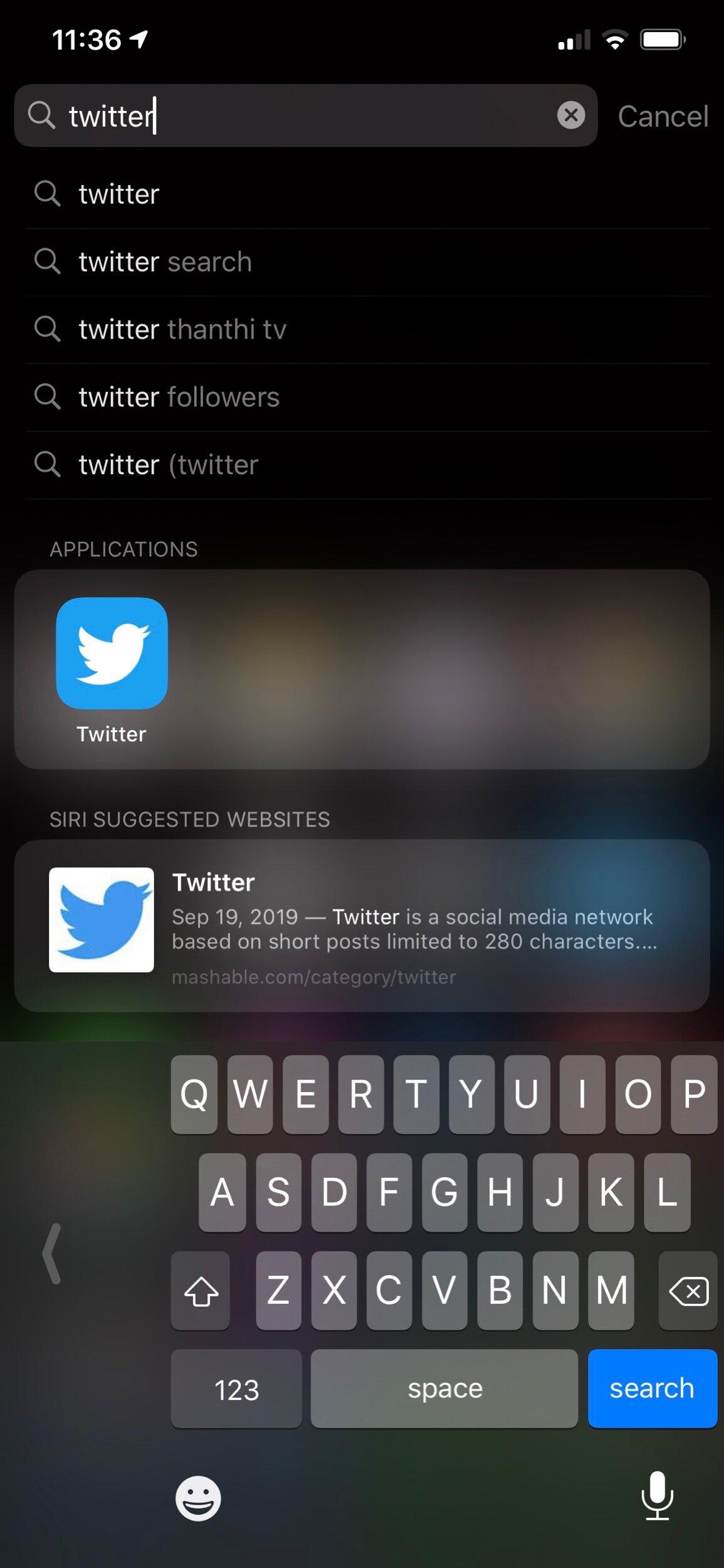 Spotlight feature on iPhone 11 Pro Max