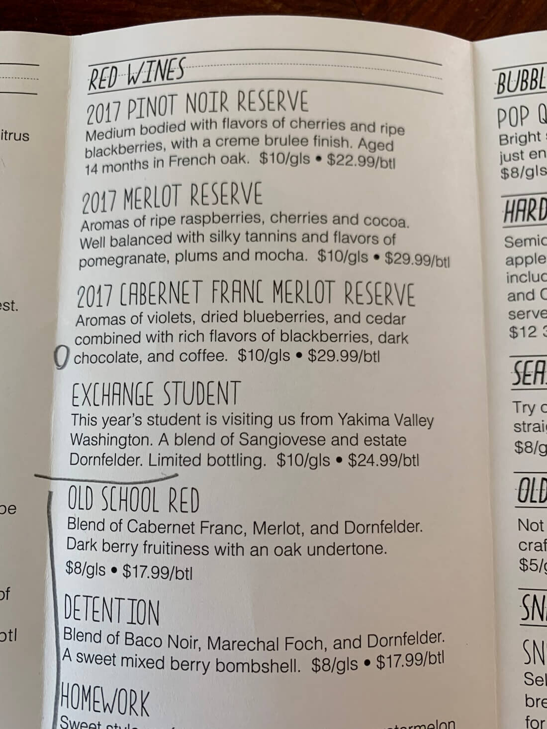 Wine menu at Peninsula Cellars Winery in Traverse City, Michigan