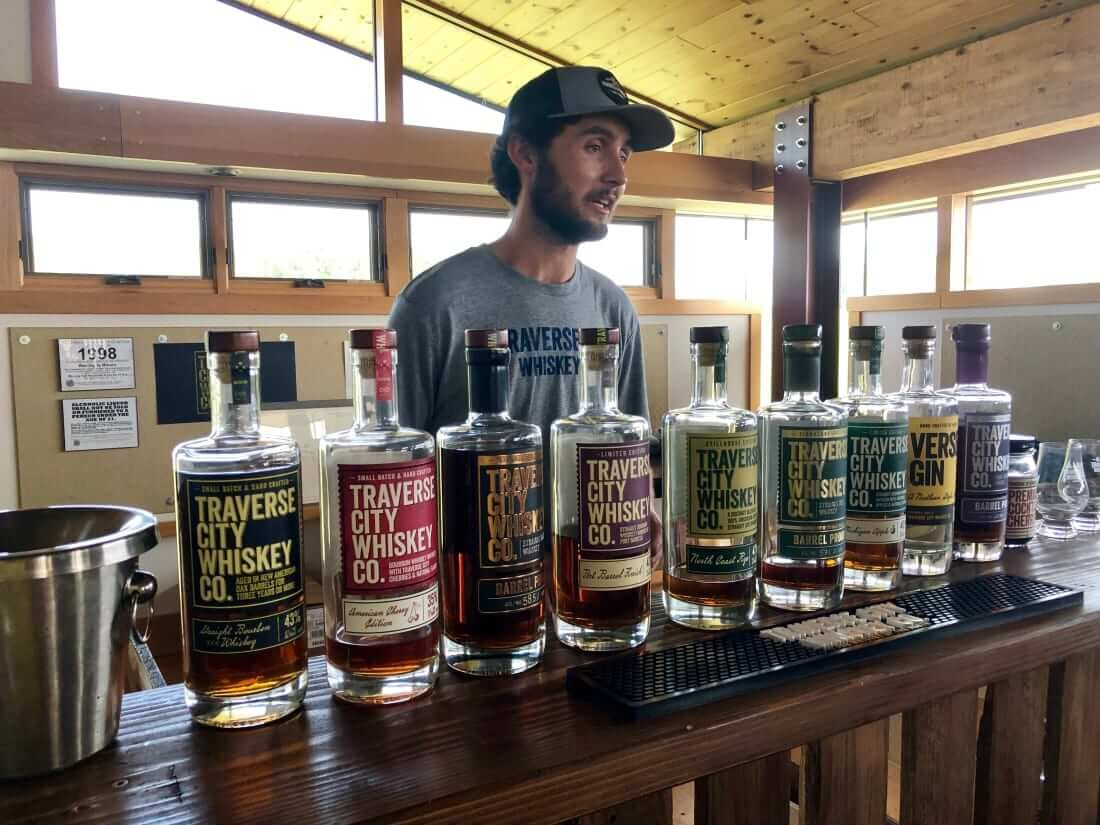Whiskey lineup at Traverse City Whiskey Co.