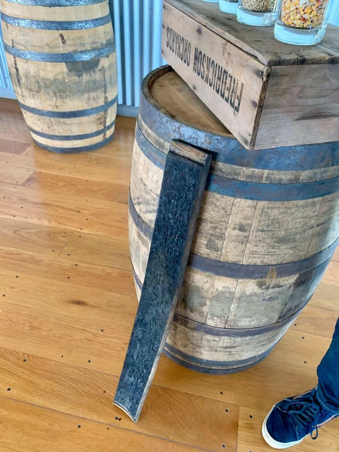 Charred barrel plank at Traverse City Whiskey Co.