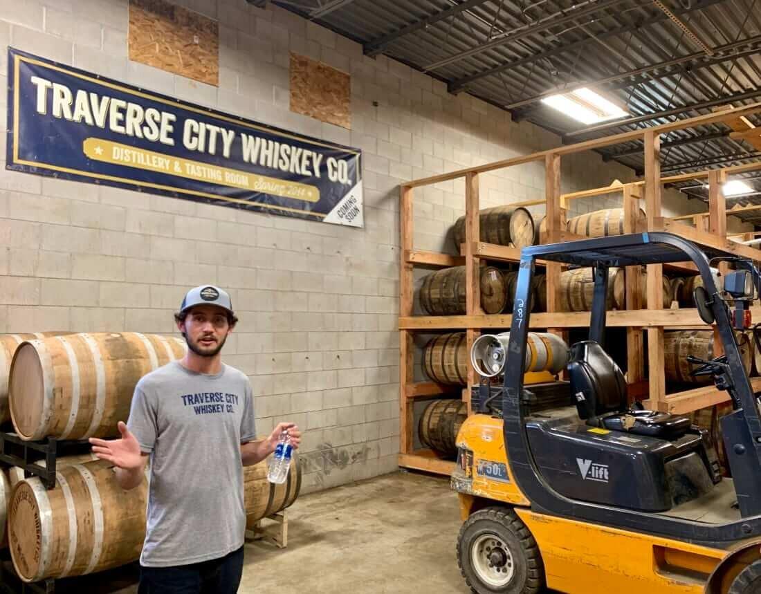 Whiskey barrel storage at Traverse City Whiskey Co.