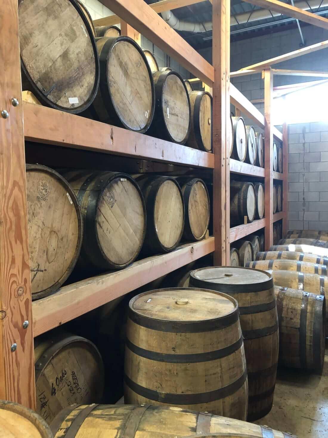 Oak whiskey barrels at Traverse City Whiskey Co.
