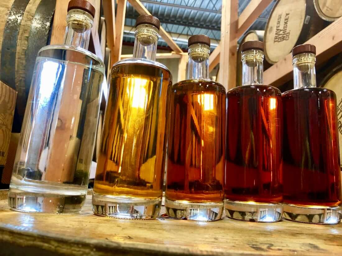 Whiskey color at various stages of aging
