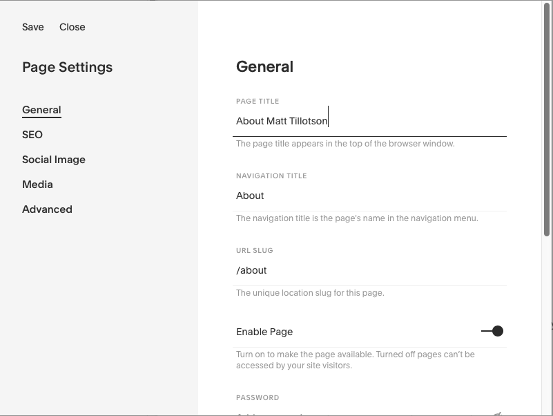 Screenshot showing page title settings in Squarespace