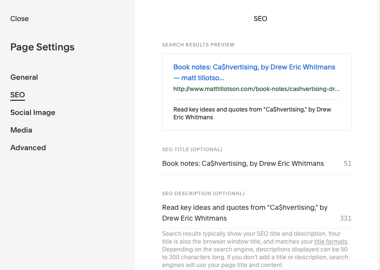 Screenshot example of Squarespace SEO title and meta descriptions.
