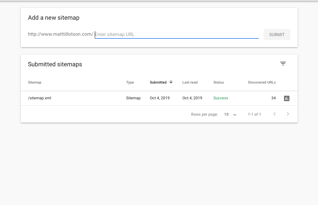 Screenshot of sitemap submission on the Google Search Console