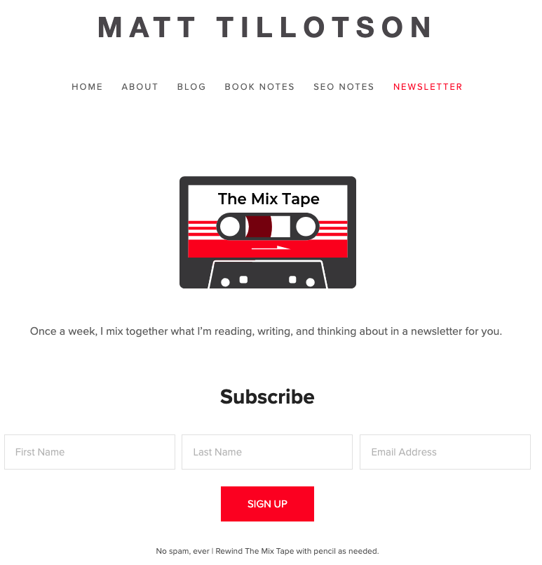 The Mix Tape Newsletter old signup page